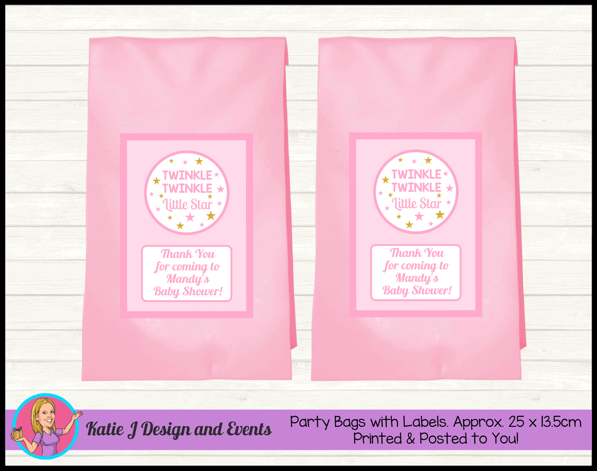 Personalised Girls Twinkle Twinkle Baby Shower Party Bags