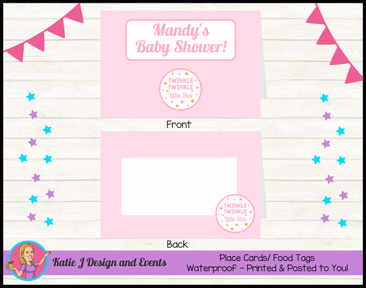 Personalised Girls Twinkle Twinkle Baby Shower Place Cards