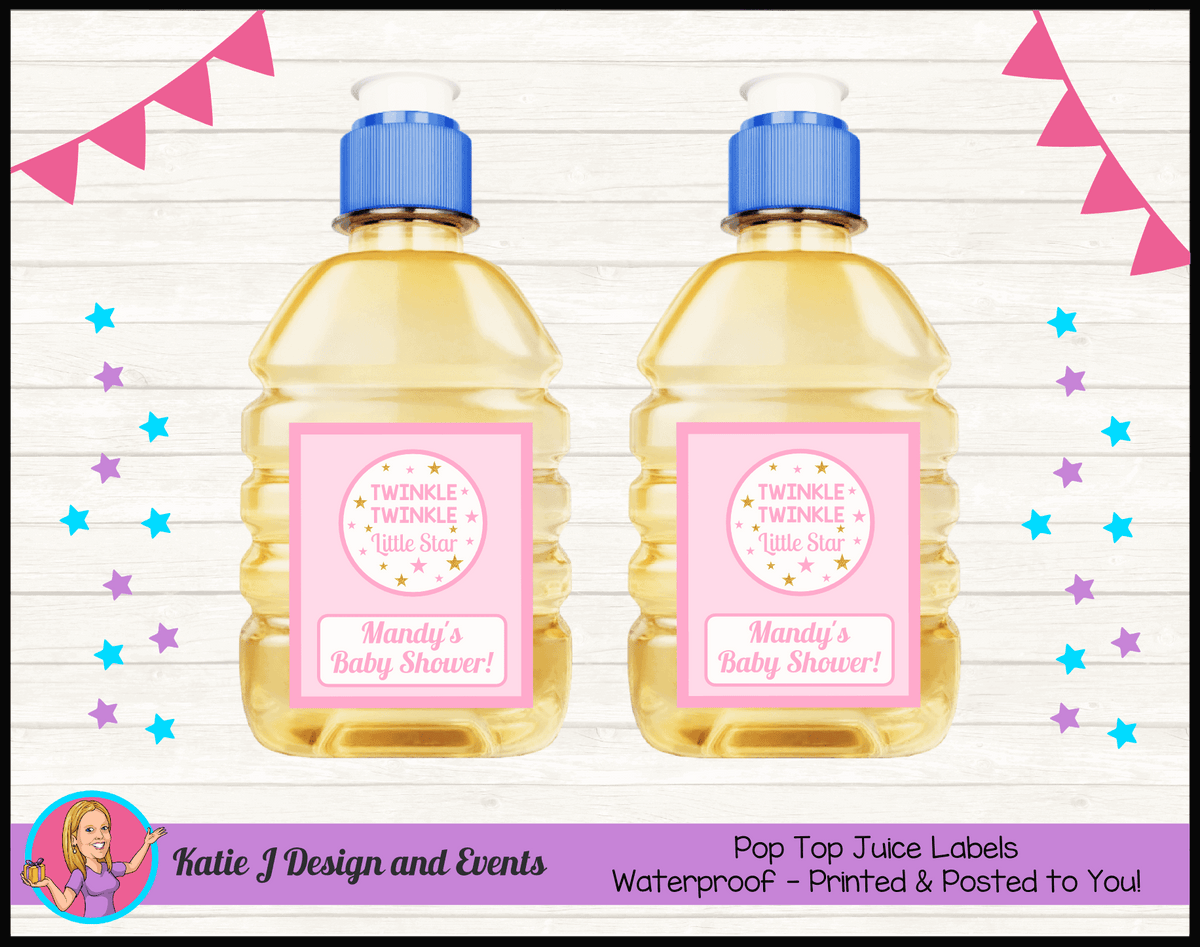 Personalised Girls Twinkle Twinkle Baby Shower Pop Top Juice Labels