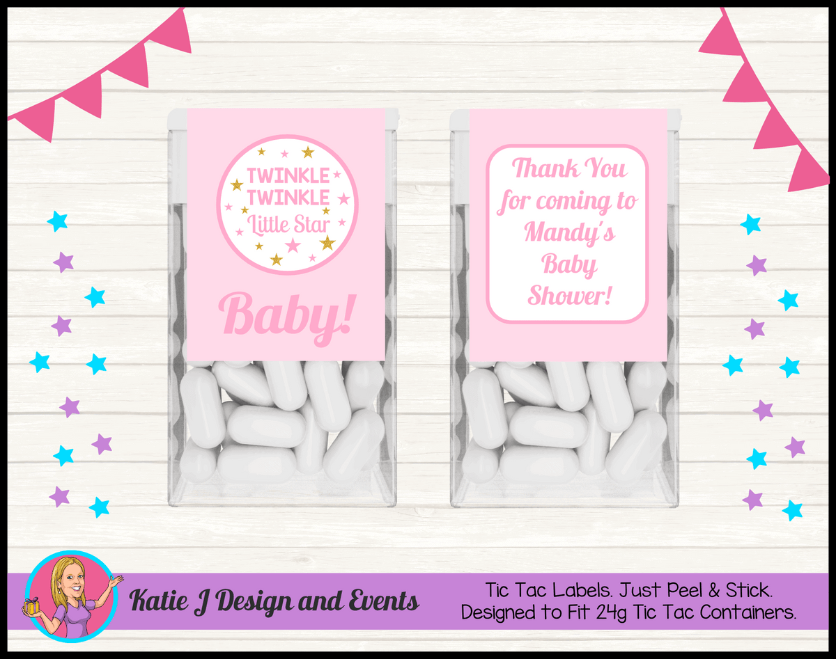 Personalised Girls Twinkle Twinkle Baby Shower Tic Tac Labels