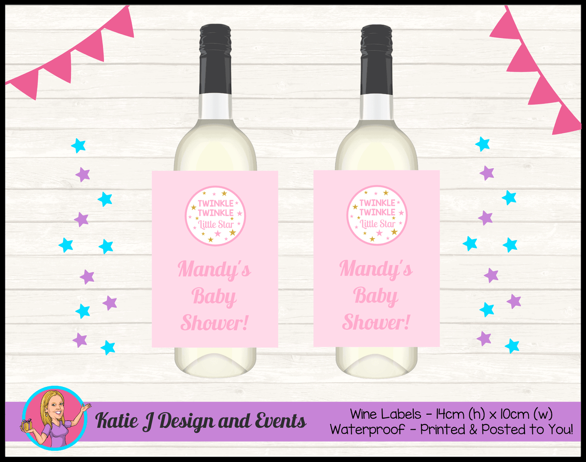 Personalised Girls Twinkle Twinkle Baby Shower Wine Labels