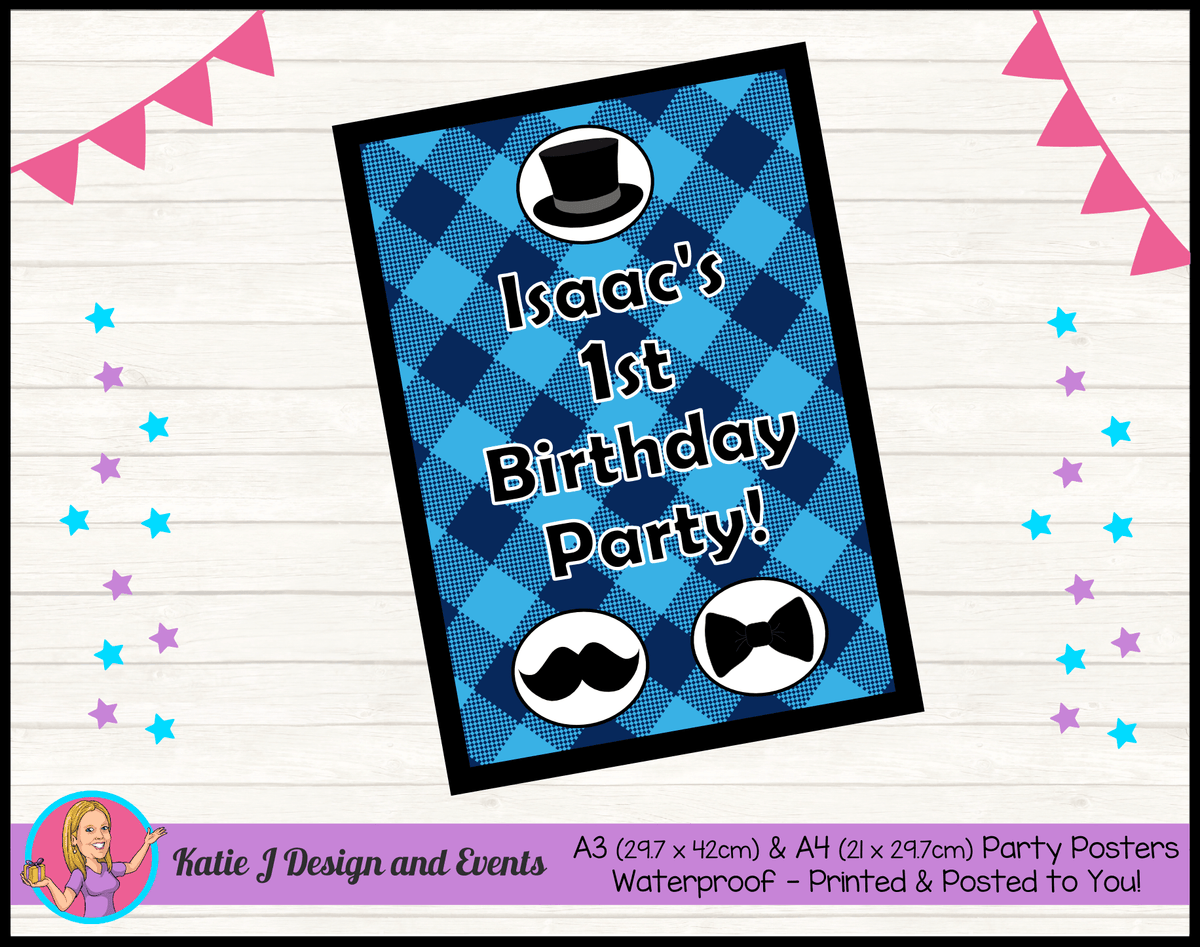 Personalised Plaid Little Man Birthday Party Poster