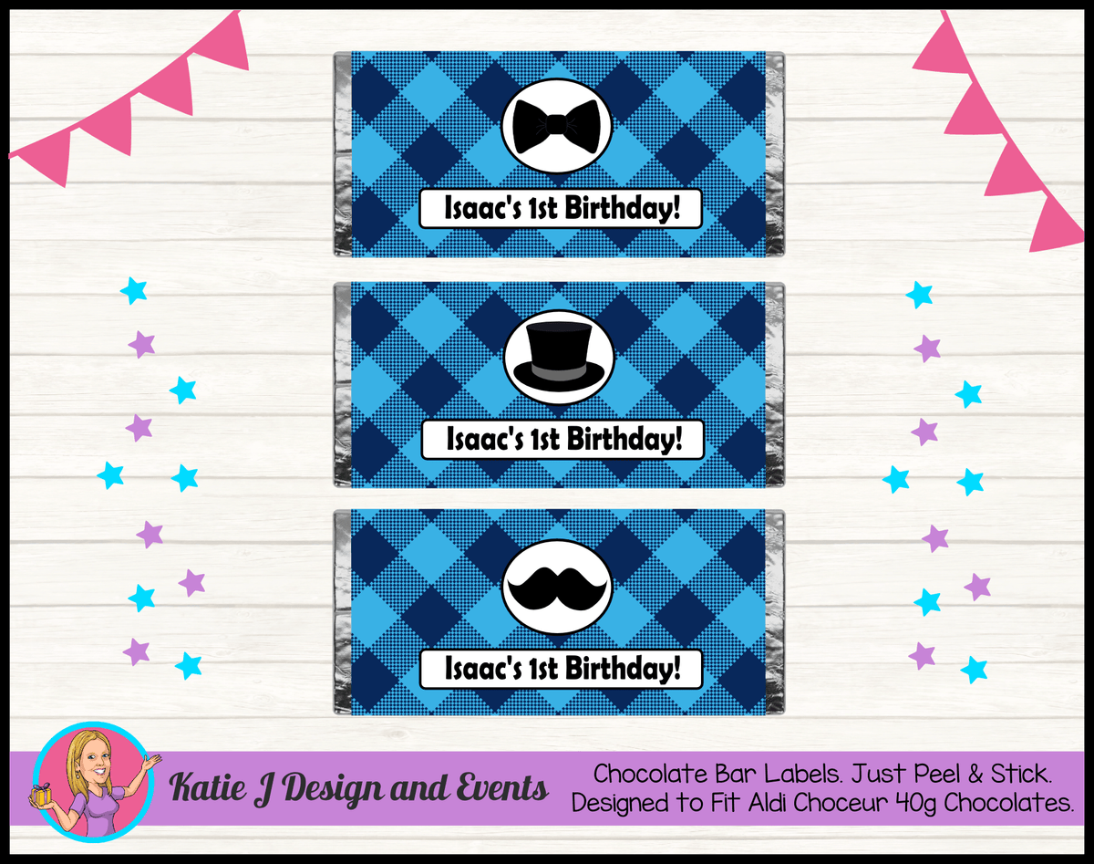 Personalised Plaid Little Man Chocolate Labels Wrappers