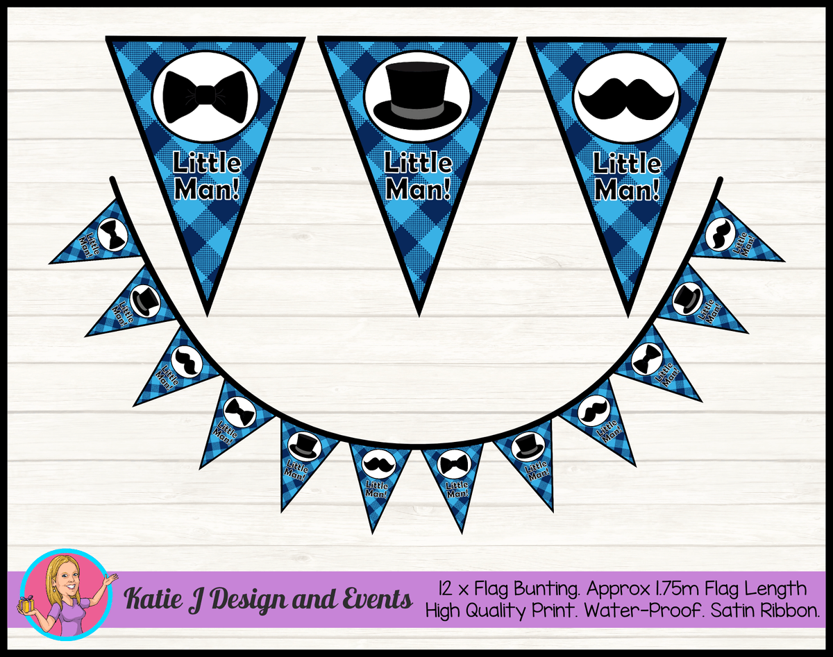 Personalised Plaid Little Man Birthday Party Flag Bunting