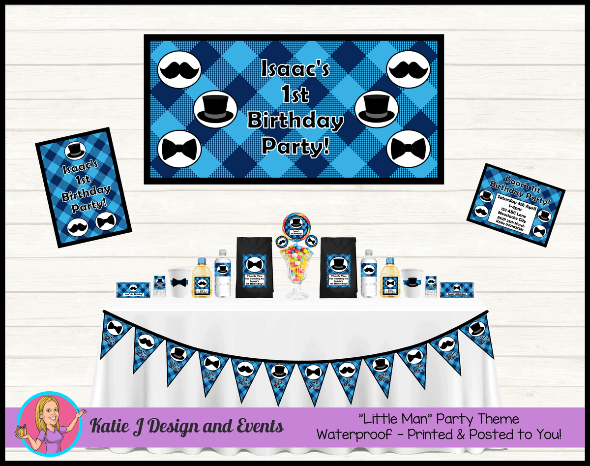 Personalised Plaid Little Man Party Packs Decorations Supplies