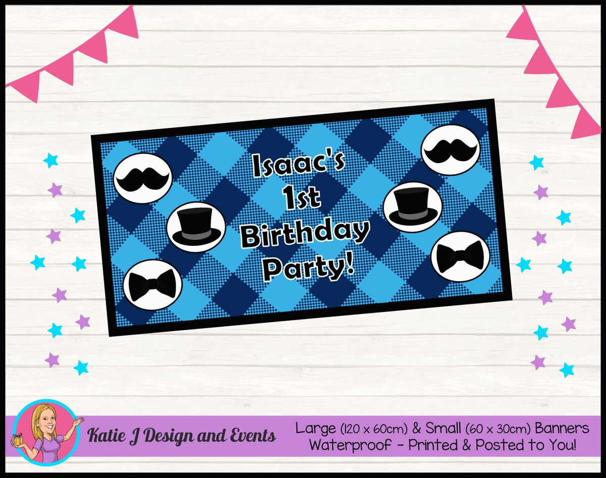 Personalised Plaid Little Man Birthday Party Banner