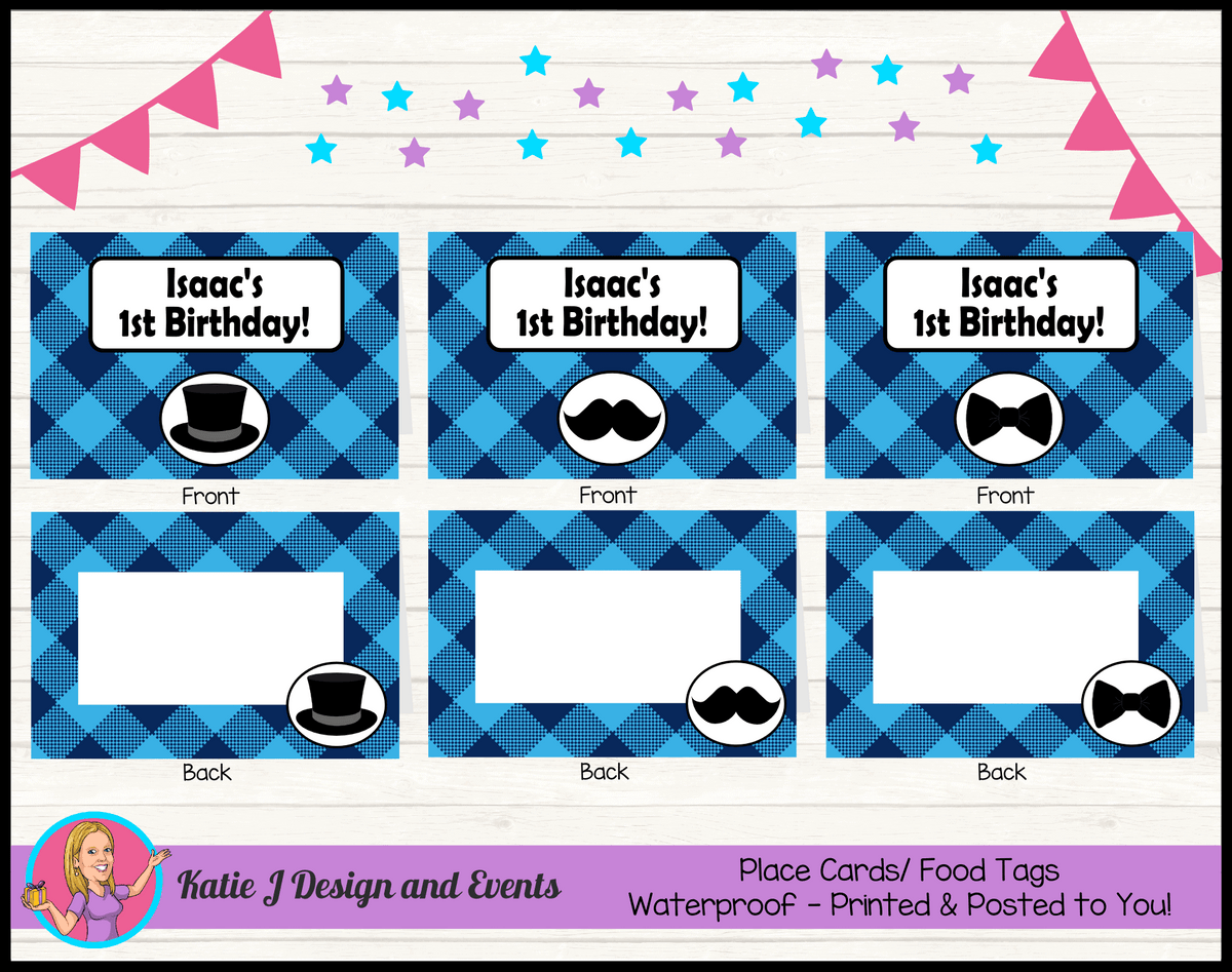 Personalised Plaid Little Man Party Place Cards