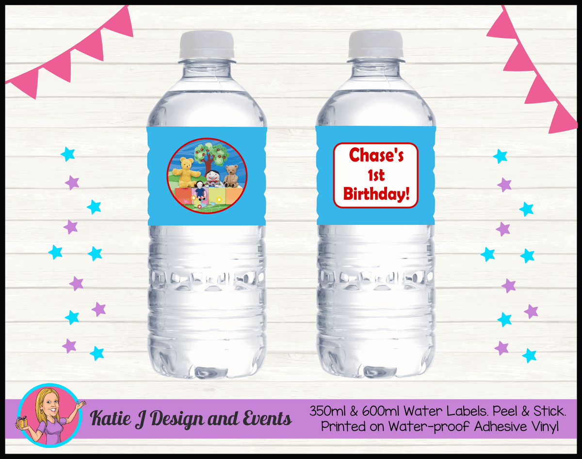 Personalised Playschool Birthday Party Water Labels