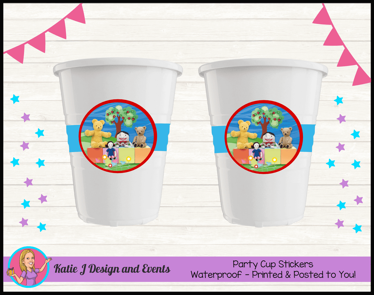 Personalised Playschool Party Cup Stickers Cups