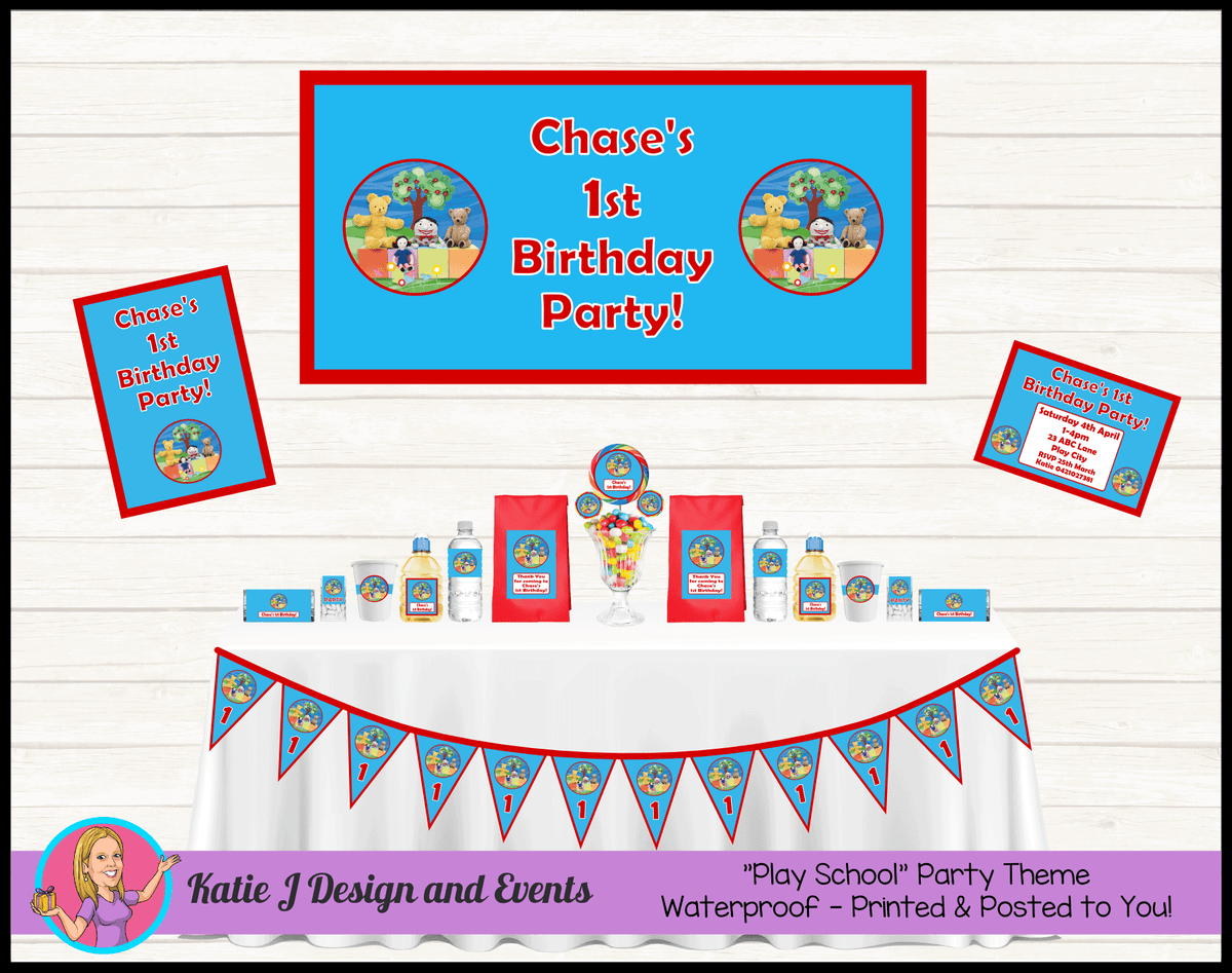 Personalised Playschool Party Packs Decorations Supplies