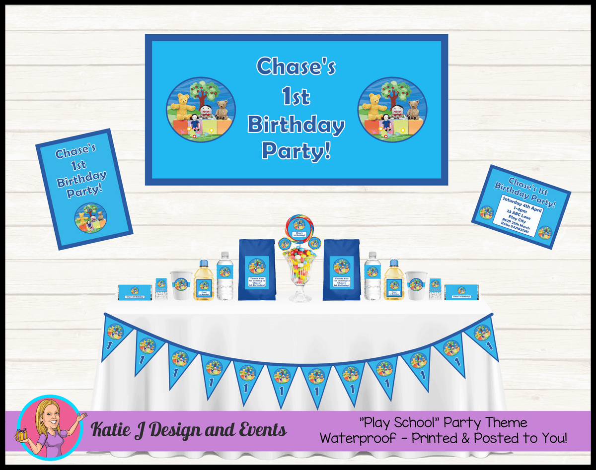 Personalised Boys Playschool Party Packs Decorations Supplies