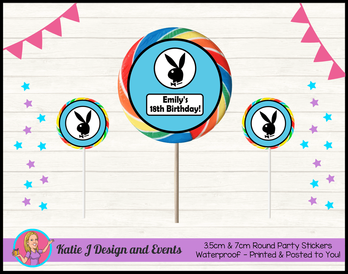 Personalised Playboy Round Lollipop Stickers