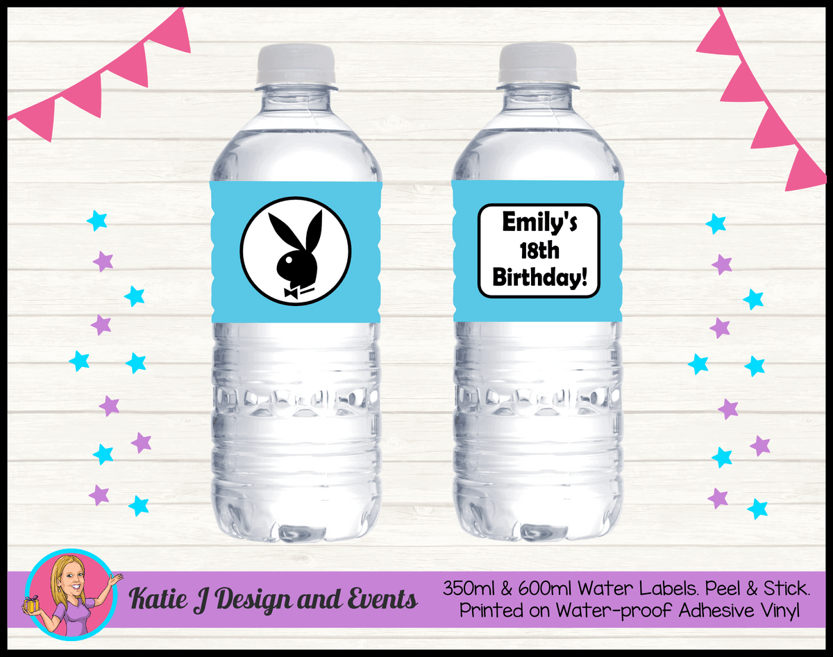 Personalised Playboy Birthday Party Water Labels