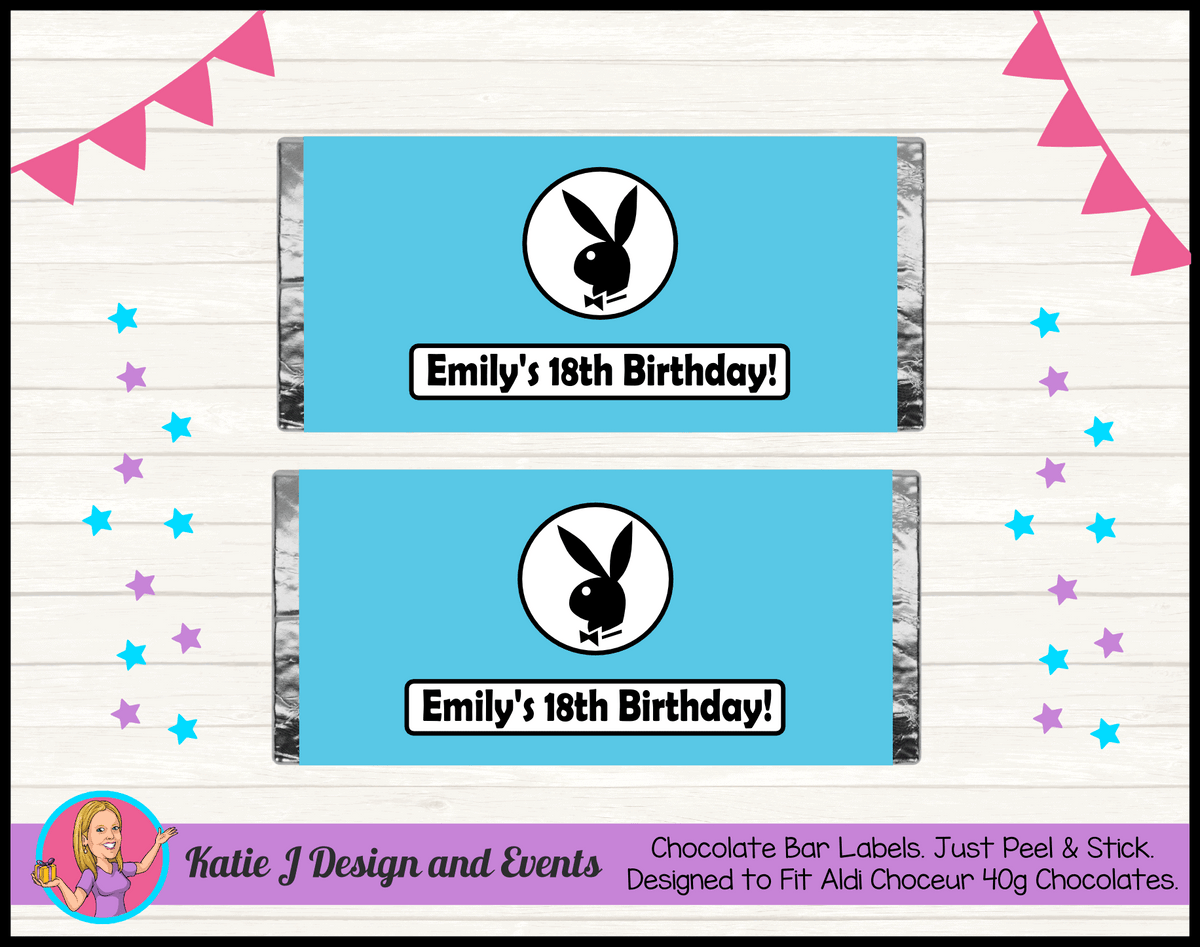 Personalised Playboy Birthday Chocolate Labels Wrappers