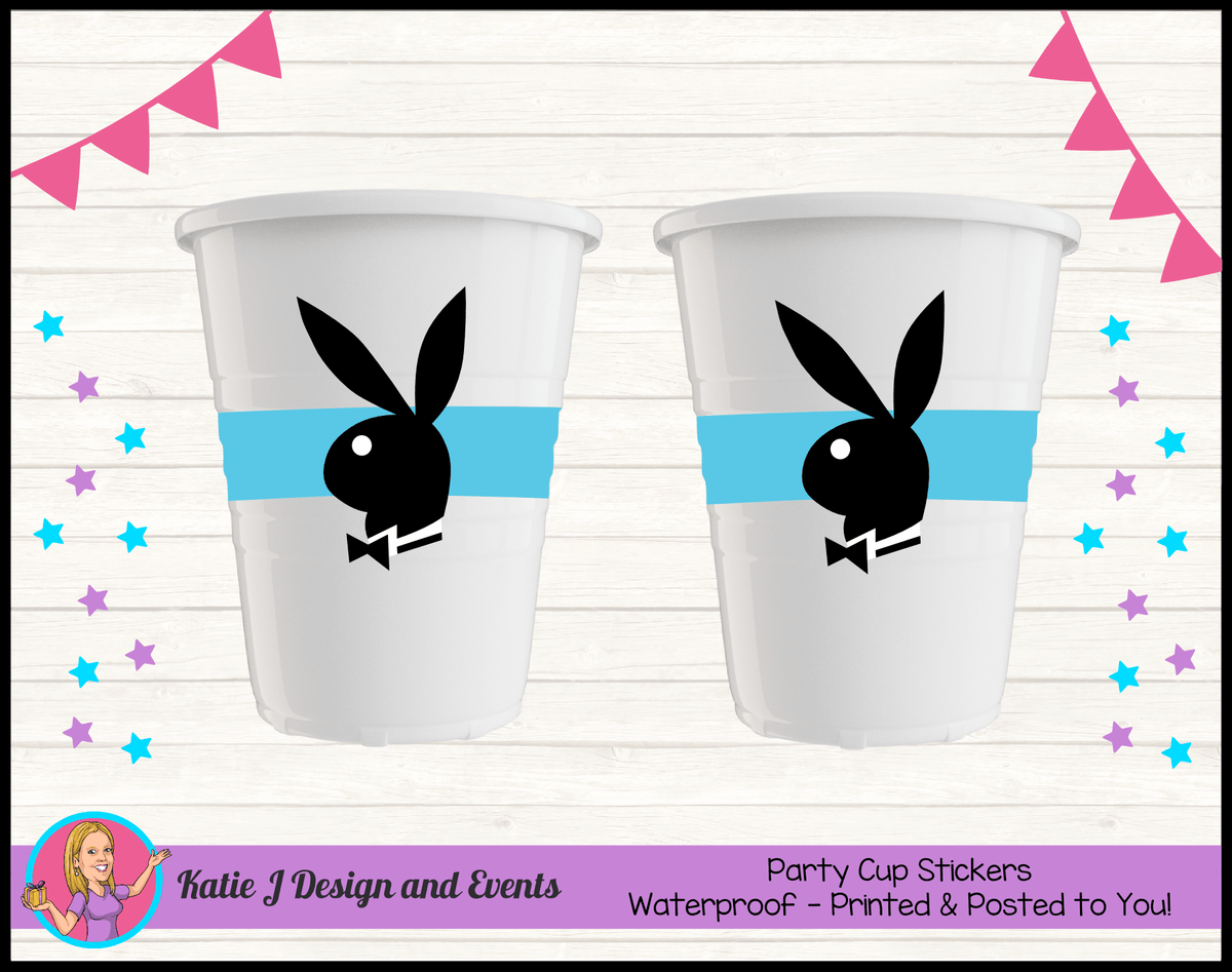 Personalised Playboy Party Cup Stickers Cups