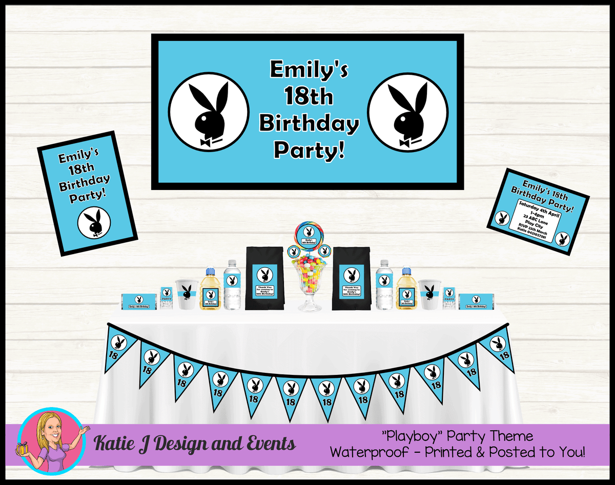 Personalised Blue Playboy Party Packs Decorations Supplies