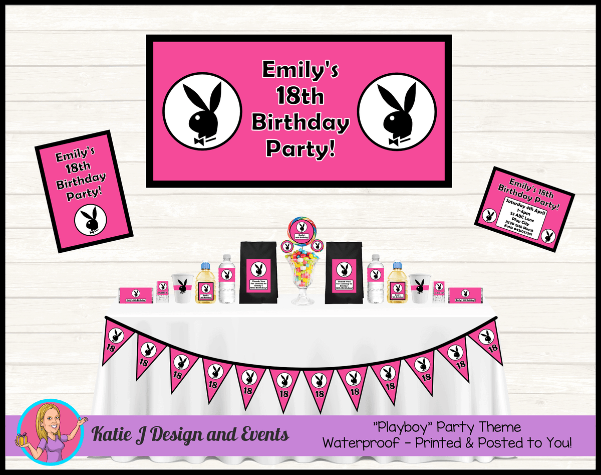 Personalised Pink Playboy Party Packs Decorations Supplies