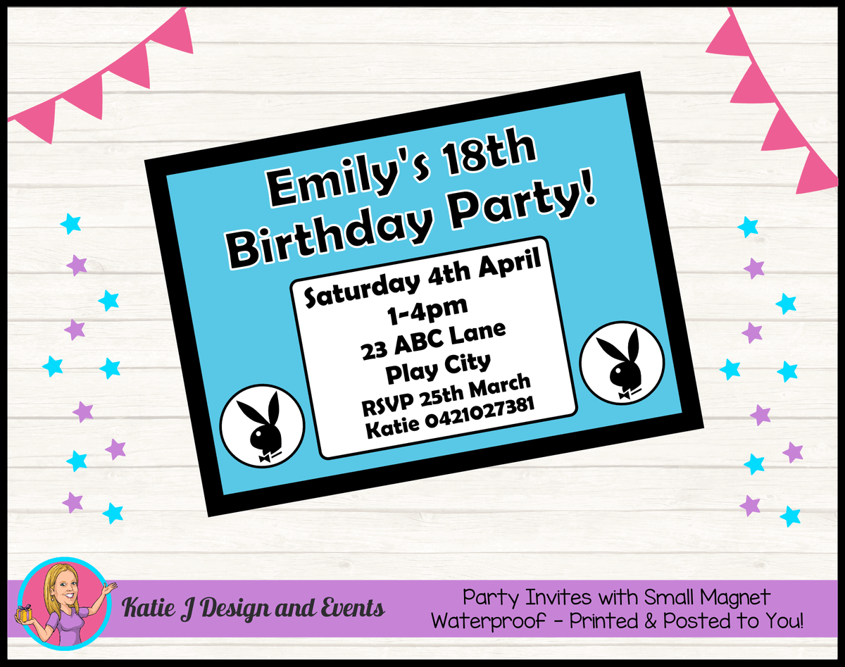 Personalised Playboy Birthday Party Invites Invitations