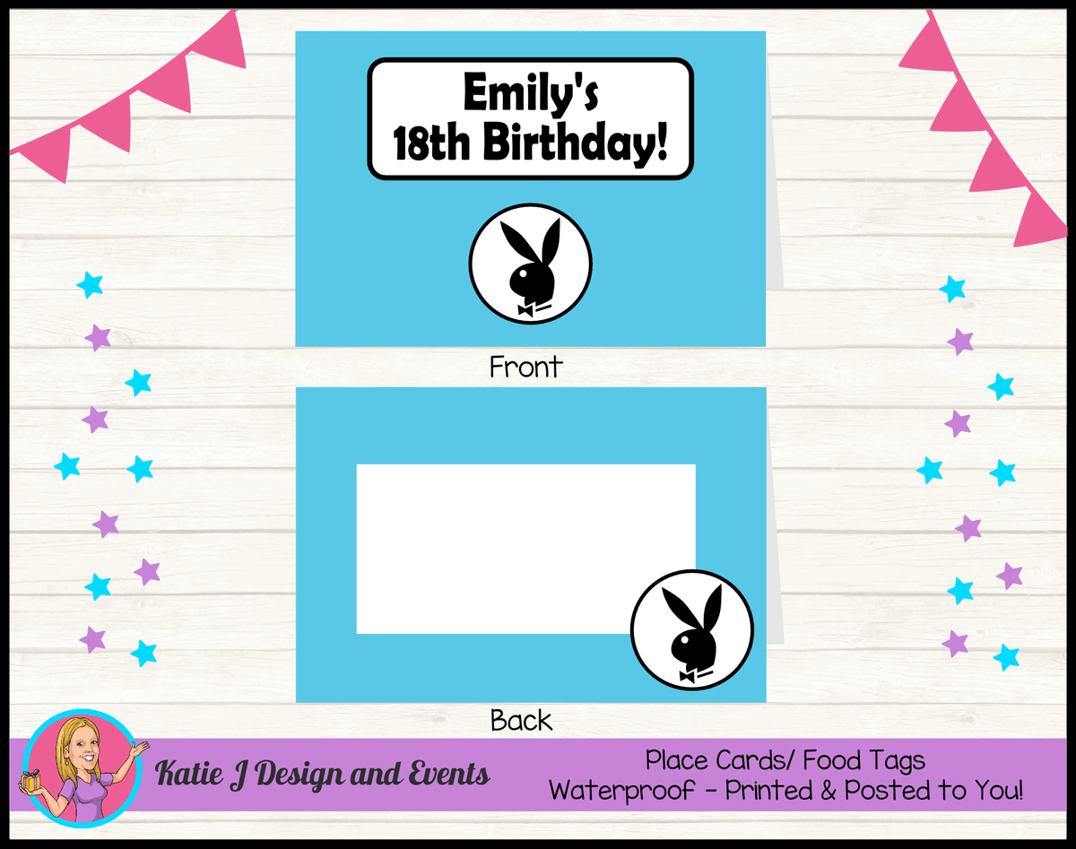 Personalised Playboy Birthday Party Place Cards