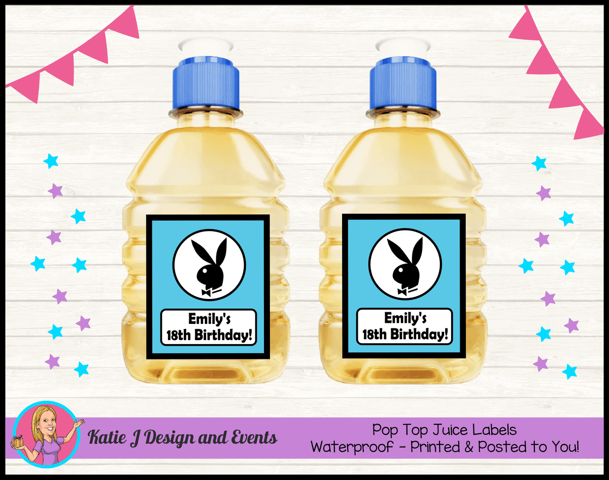 Personalised Playboy Pop Top Juice Labels