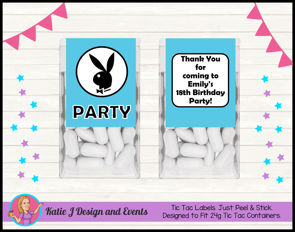 Personalised Playboy Tic Tac Mint Labels Favours