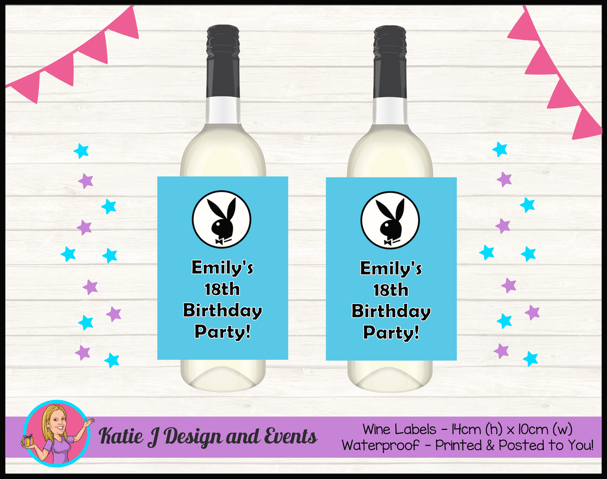 Personalised Playboy Birthday Party Wine Labels