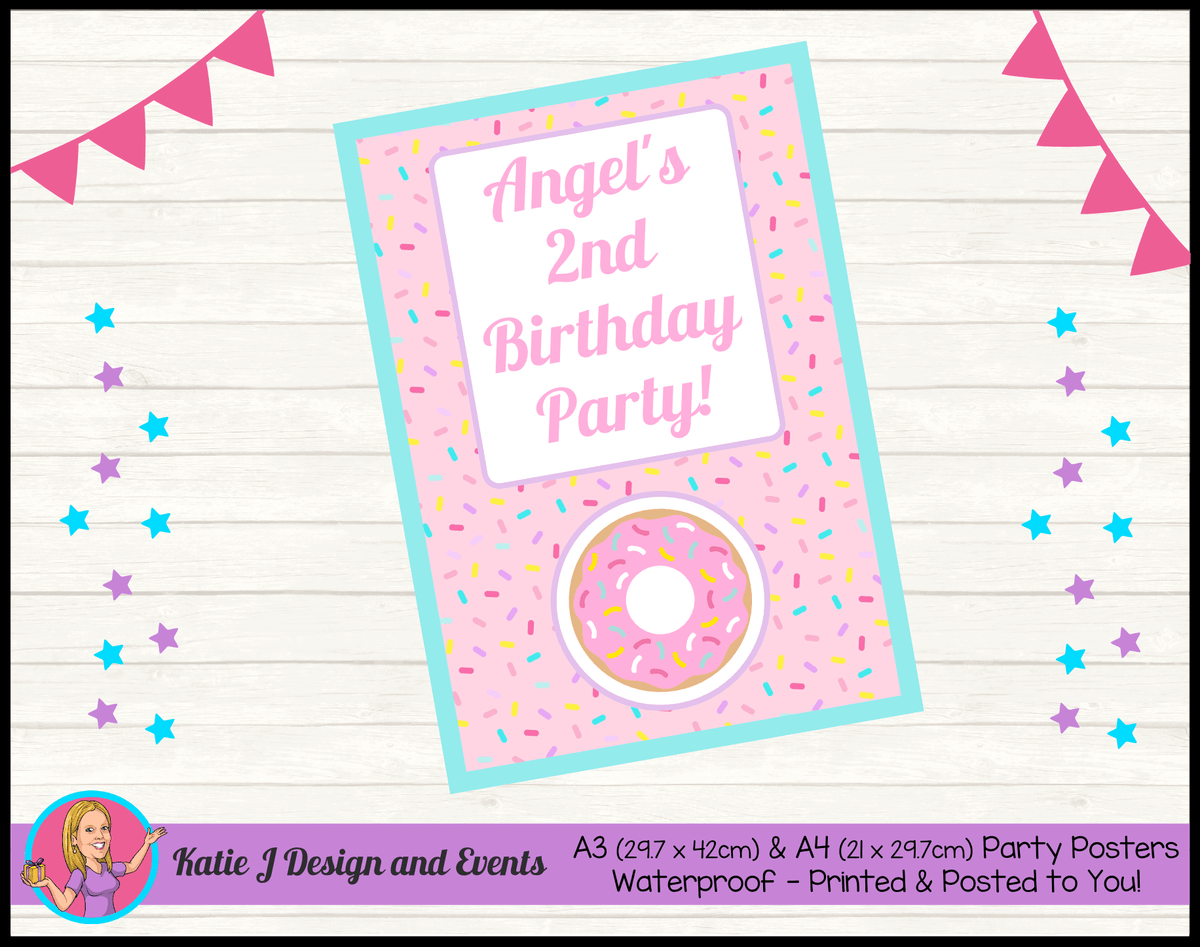Rainbow Sprinkle Donut Personalised Birthday Party Posters
