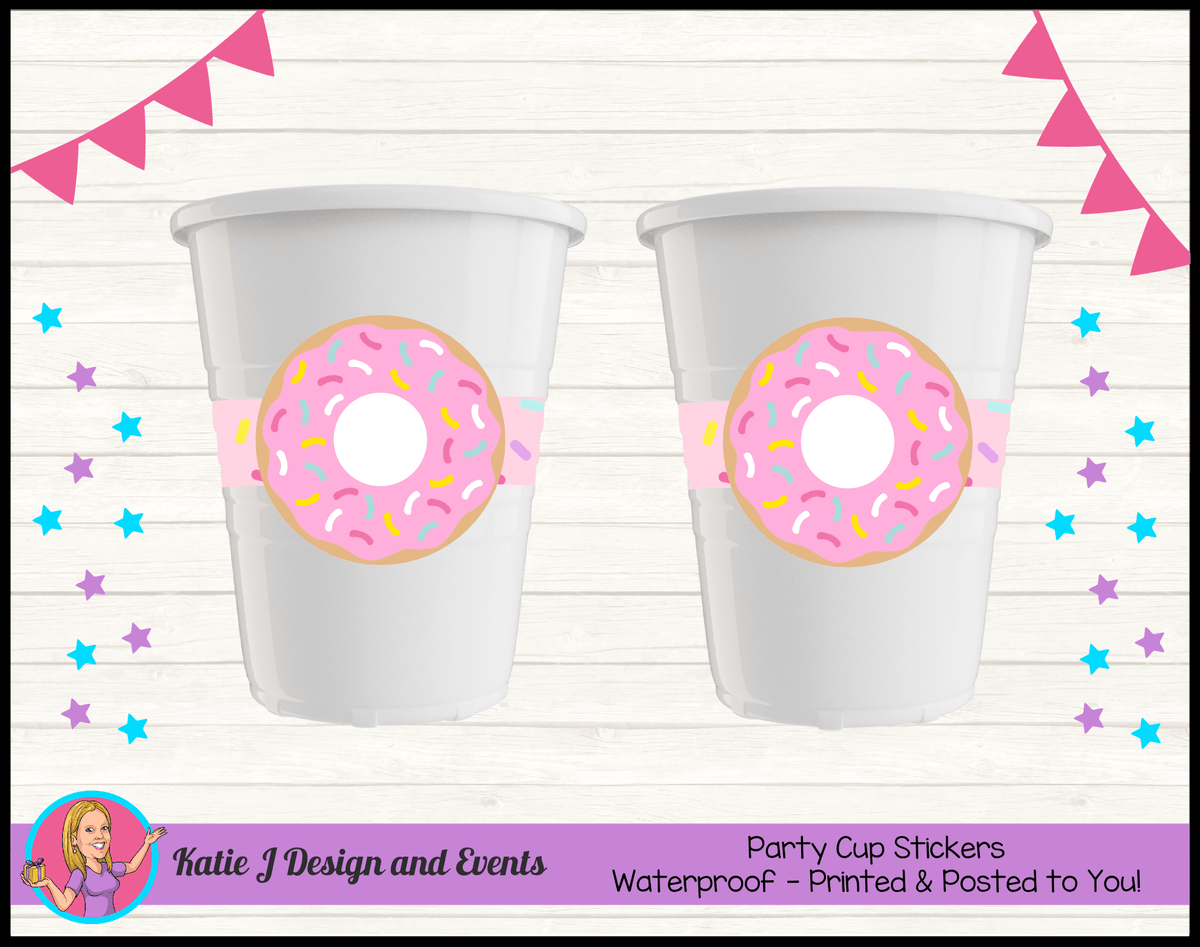 Rainbow Sprinkle Donut Personalised Birthday Party Cup Stickers Cups