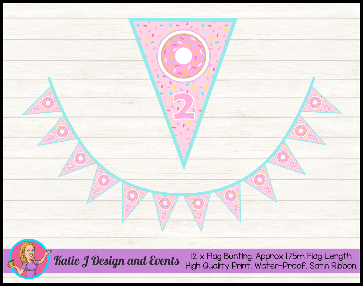 Rainbow Sprinkle Donut Personalised Birthday Party Flag Bunting