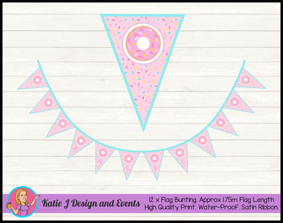 Rainbow Sprinkle Donut Personalised Birthday Party Flag Bunting Name