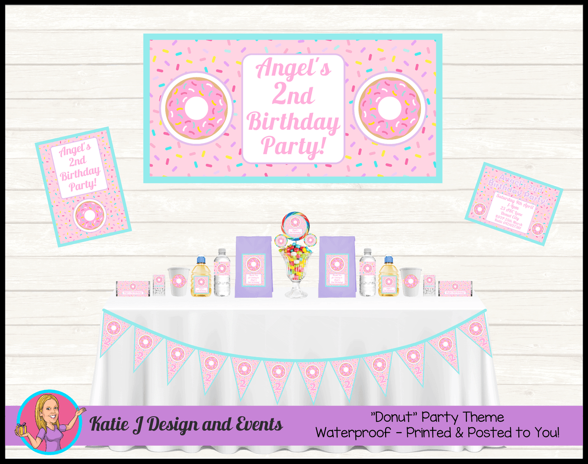 Rainbow Sprinkle Donut Personalised Party Packs Decorations Supplies Australia