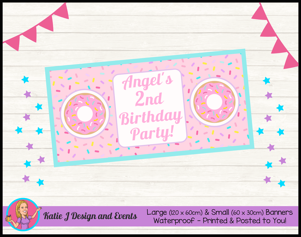 Rainbow Sprinkle Donut Personalised Birthday Party Banners
