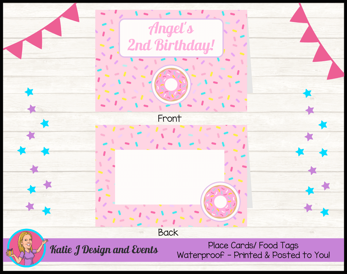 Rainbow Sprinkle Donut Personalised Birthday Party Place Cards