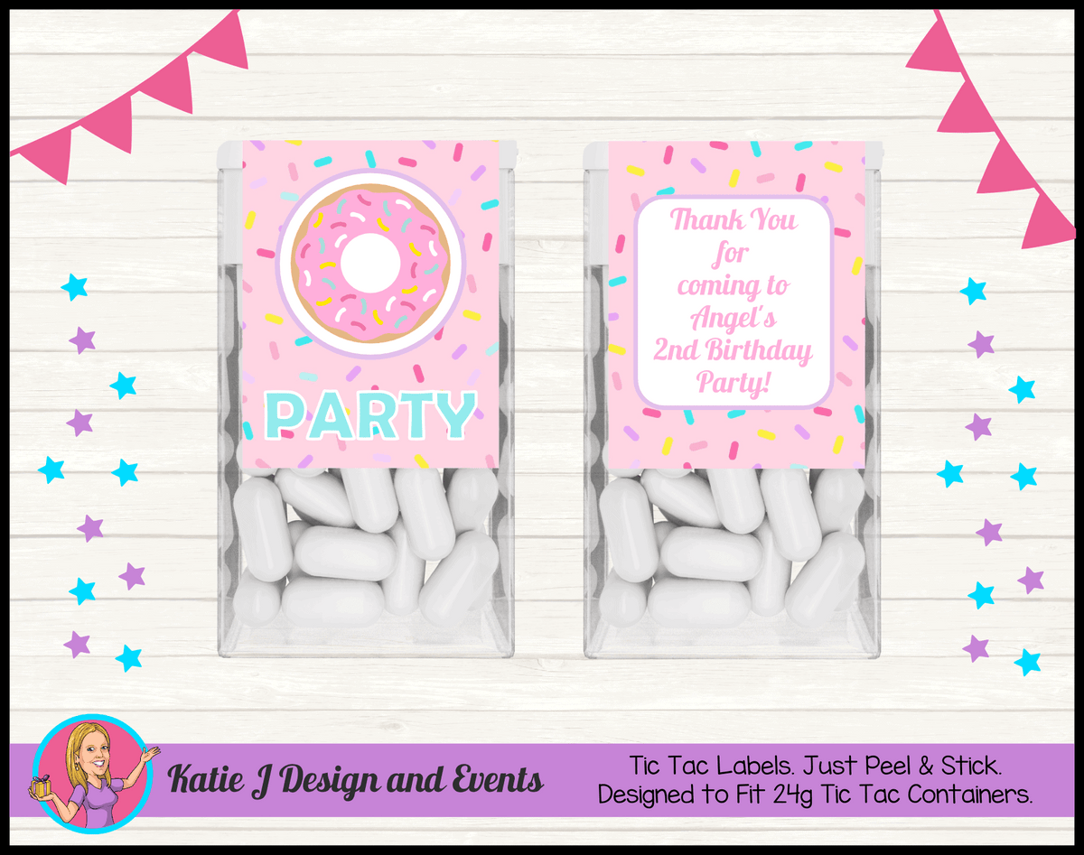 Rainbow Sprinkle Donut Personalised Birthday Party Tic Tac Mint Labels