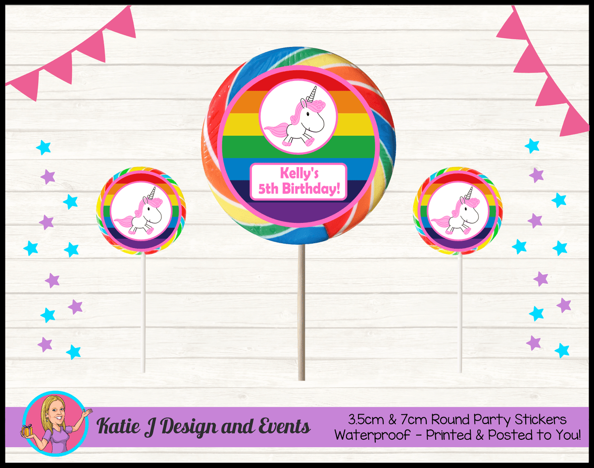 Personalised Rainbow Unicorn Round Lollipop Stickers