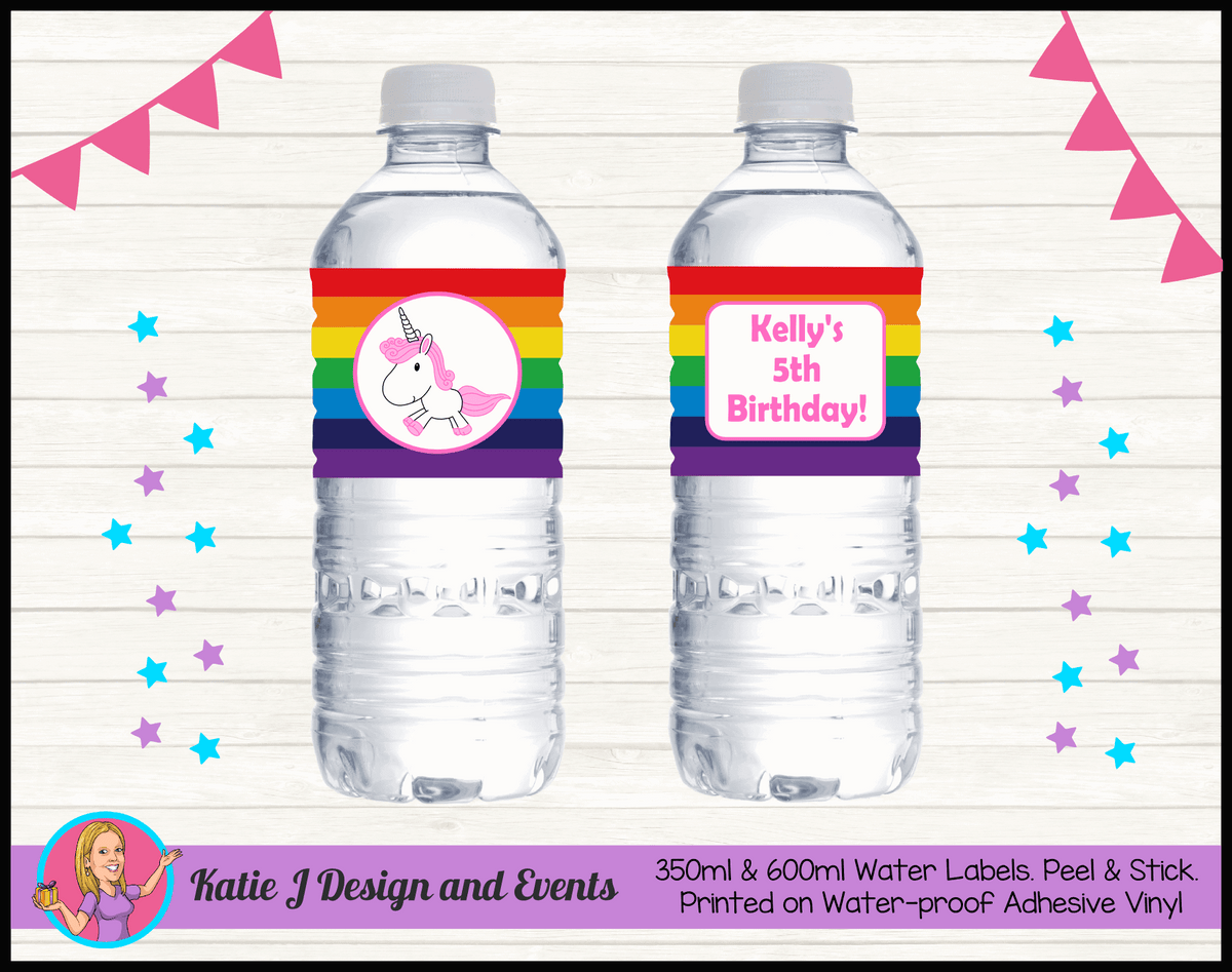 Personalised Rainbow Unicorn Birthday Water Labels