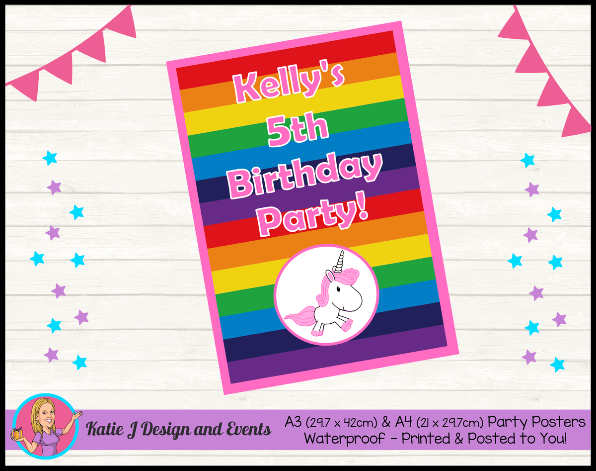 Personalised Rainbow Unicorn Birthday Party Poster