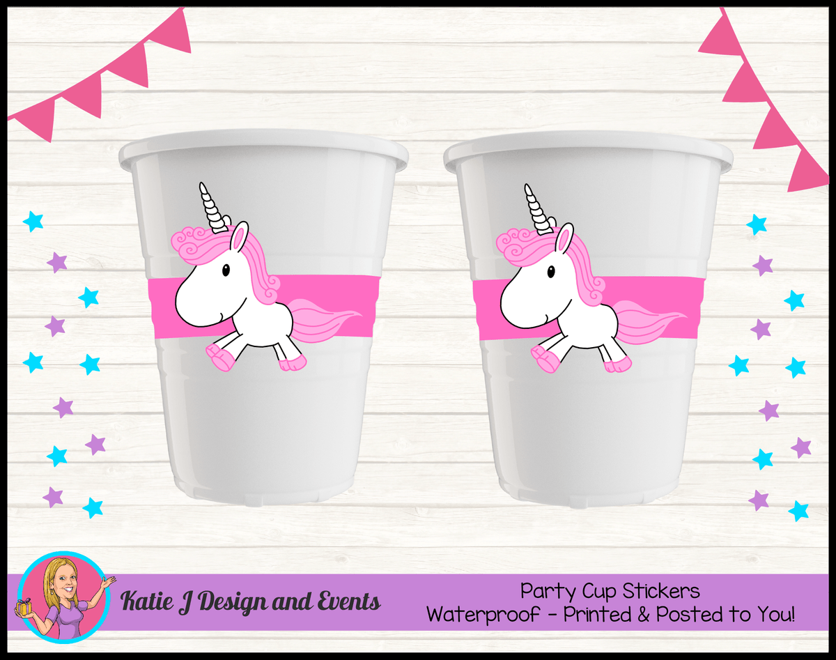 Personalised Rainbow Unicorn Party Cups Cup Stickers