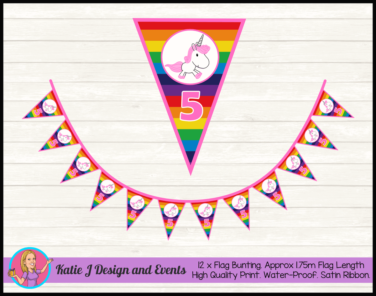 Personalised Rainbow Unicorn Birthday Party Flag Bunting