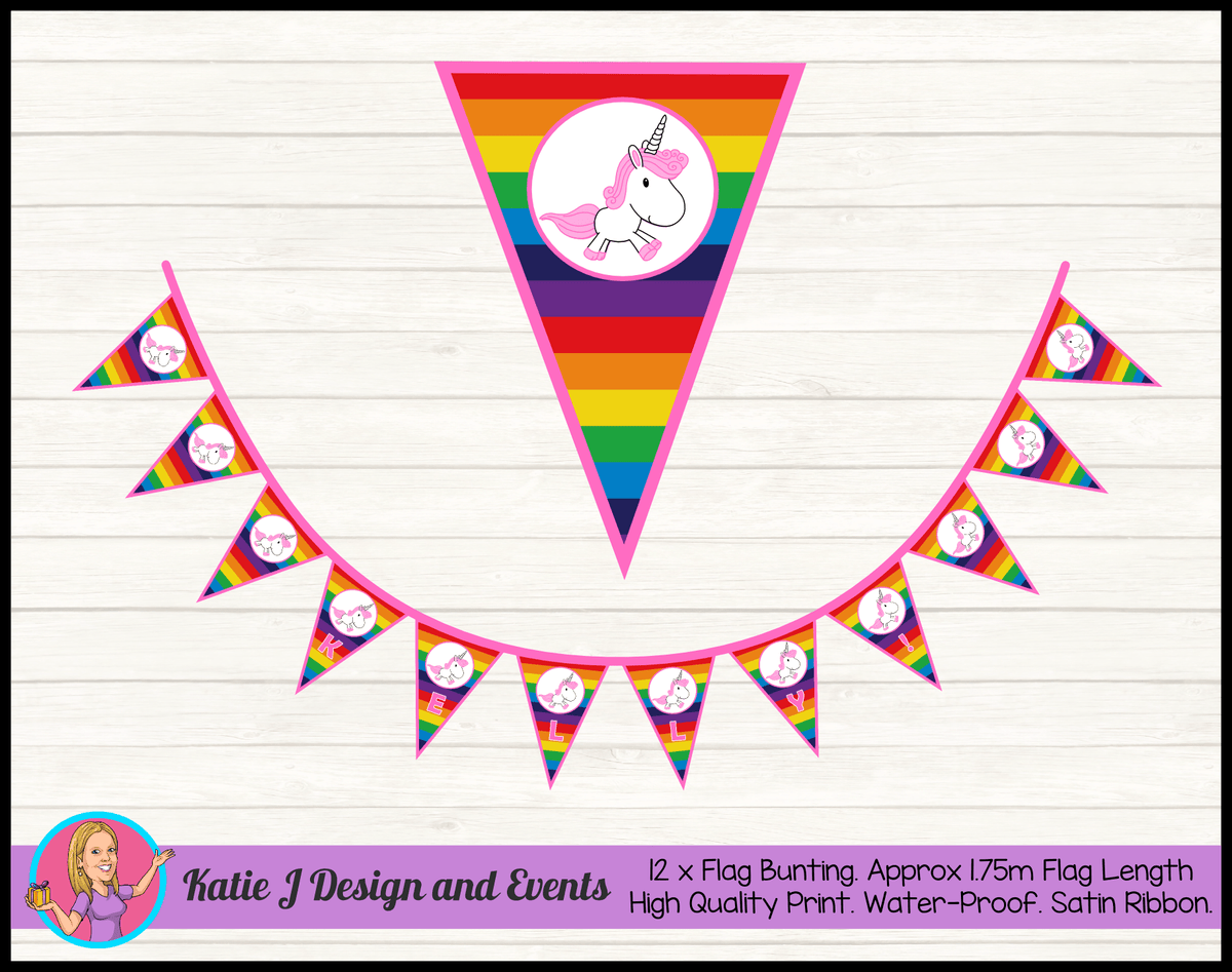 Personalised Rainbow Unicorn Birthday Party Decorations
