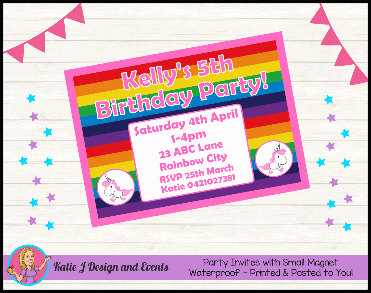 Personalised Rainbow Unicorn Birthday Party Invites