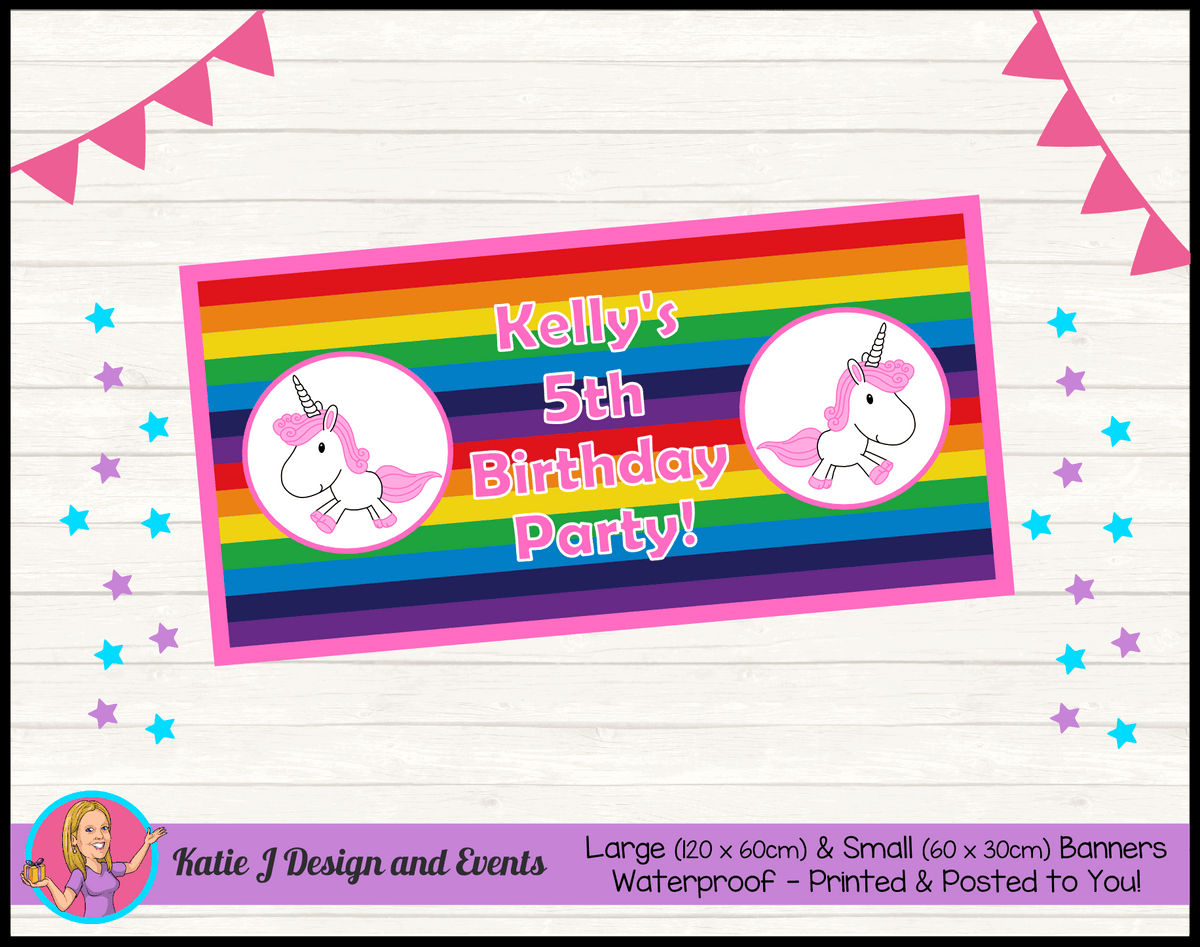 Personalised Rainbow Unicorn Birthday Party Banner