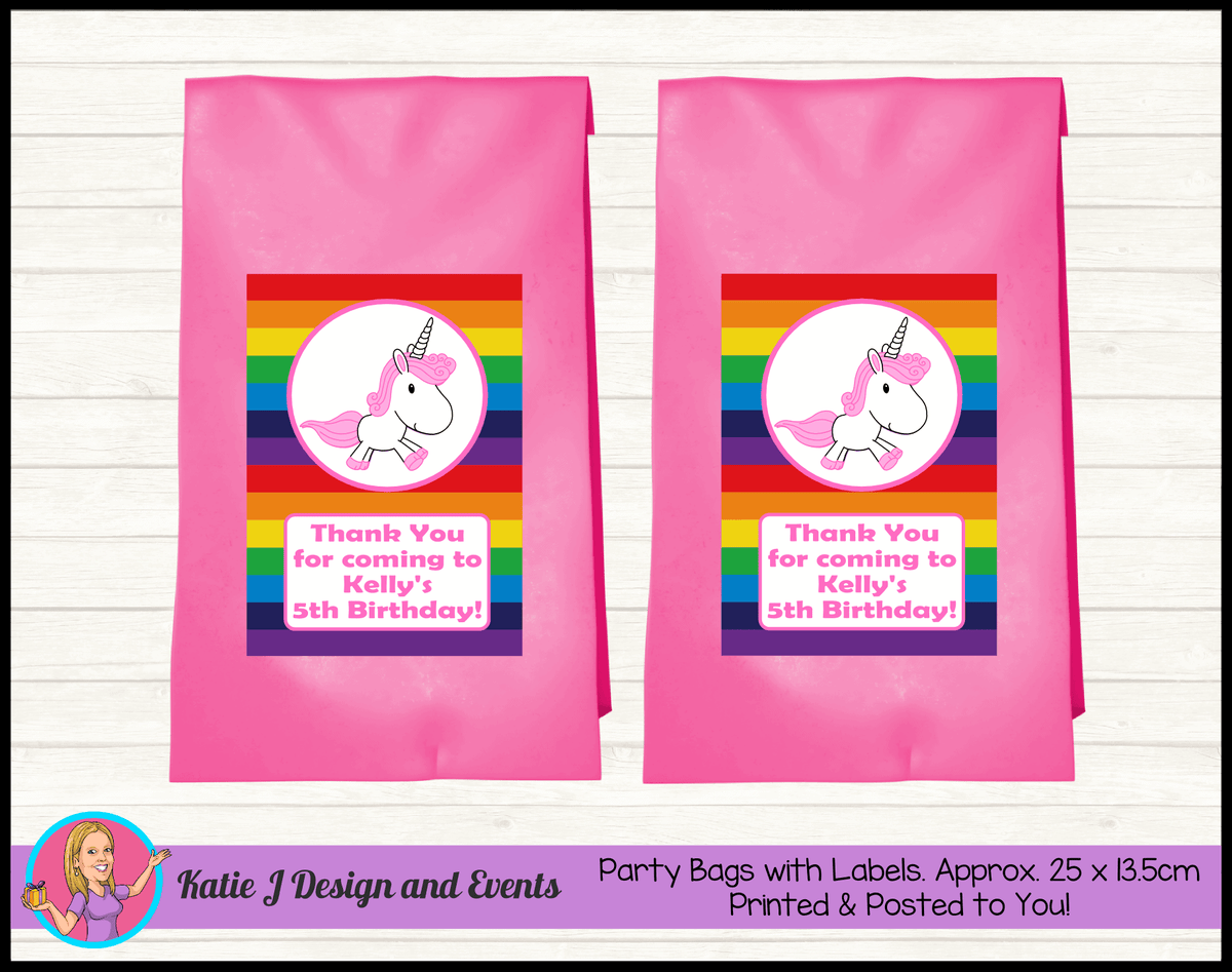 Personalised Rainbow Unicorn Birthday Party Loot Bags