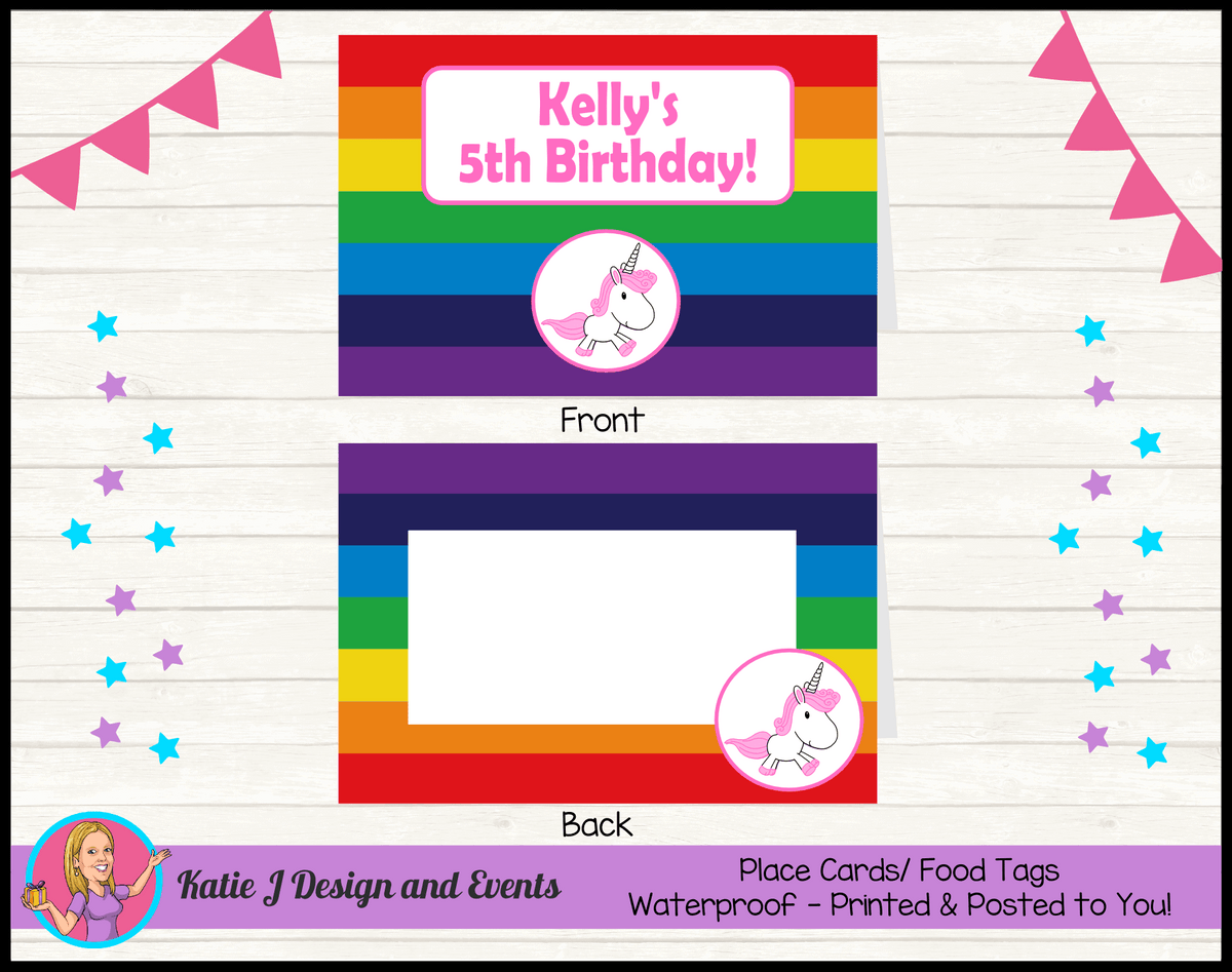 Personalised Rainbow Unicorn Party Place Cards