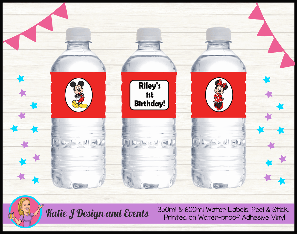 Personalised Mickey & Minnie Party Water Labels