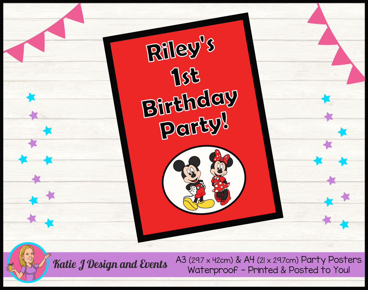 Personalised Mickey & Minnie Birthday Party Poster