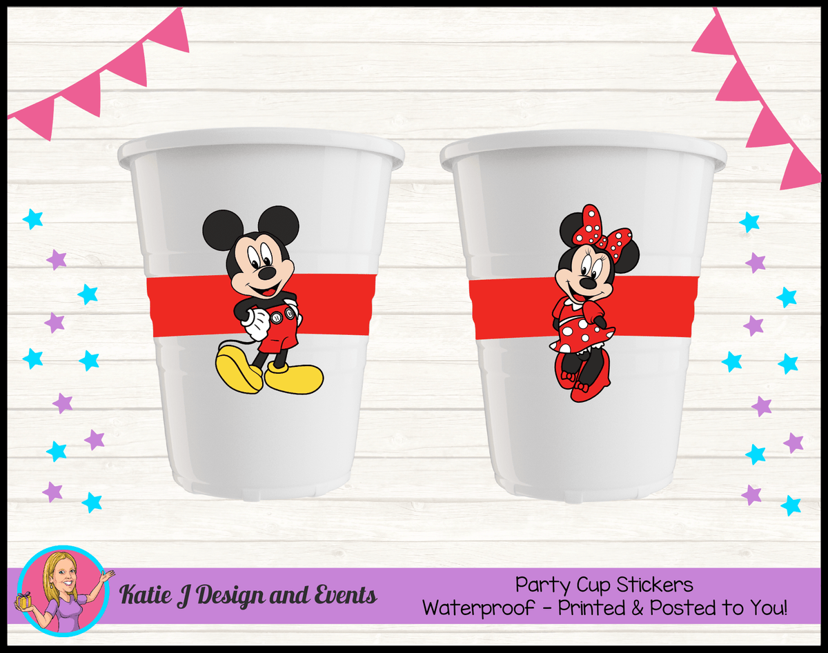 Personalised Mickey & Minnie Party Cup Stickers Cups