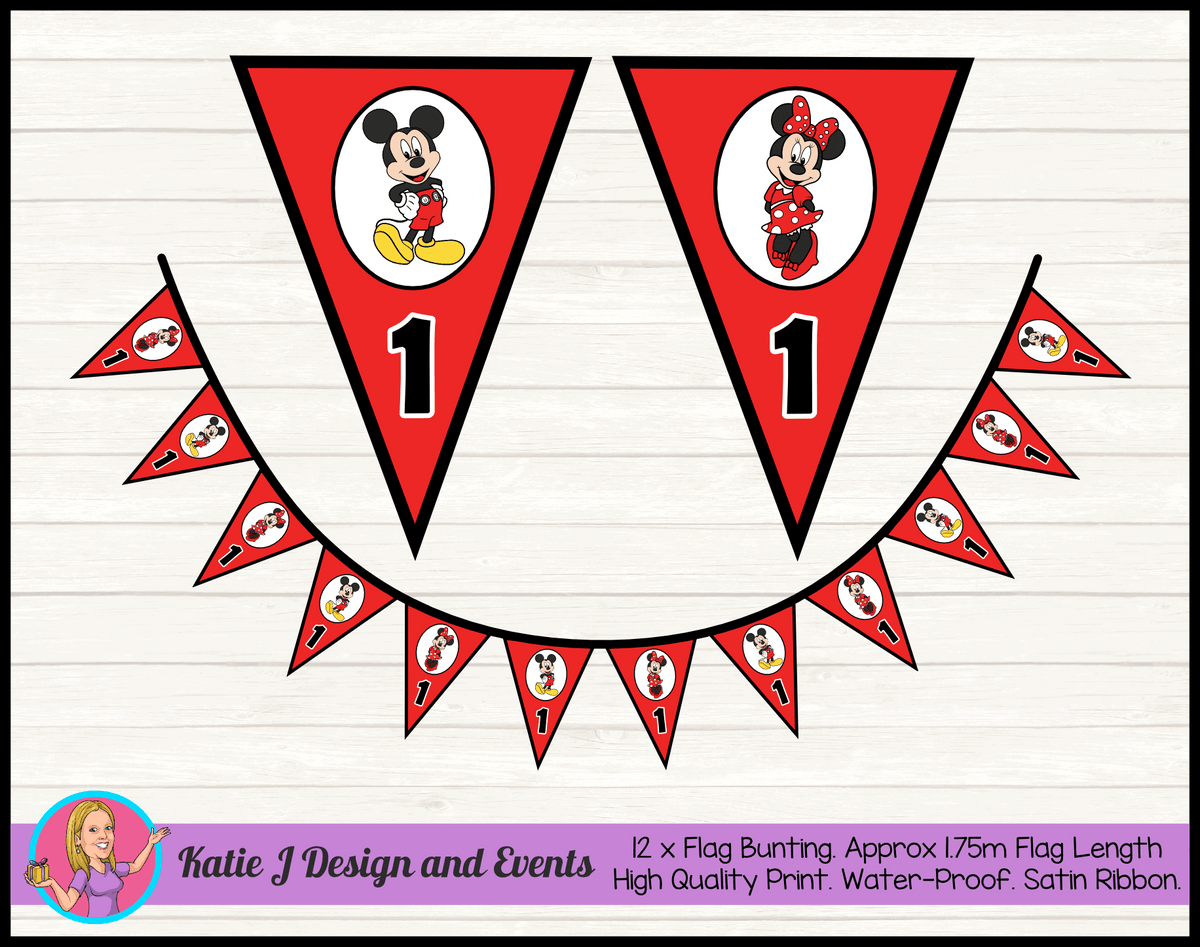 Personalised Mickey & Minnie Birthday Party Flag Bunting