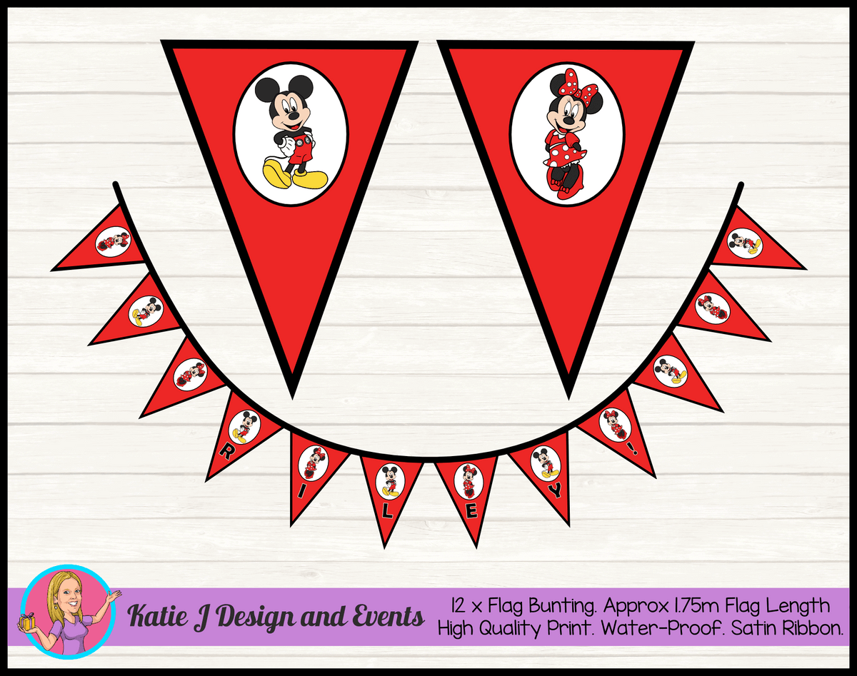 Personalised Red Mickey & Minnie Mouse Birthday Party Decorations