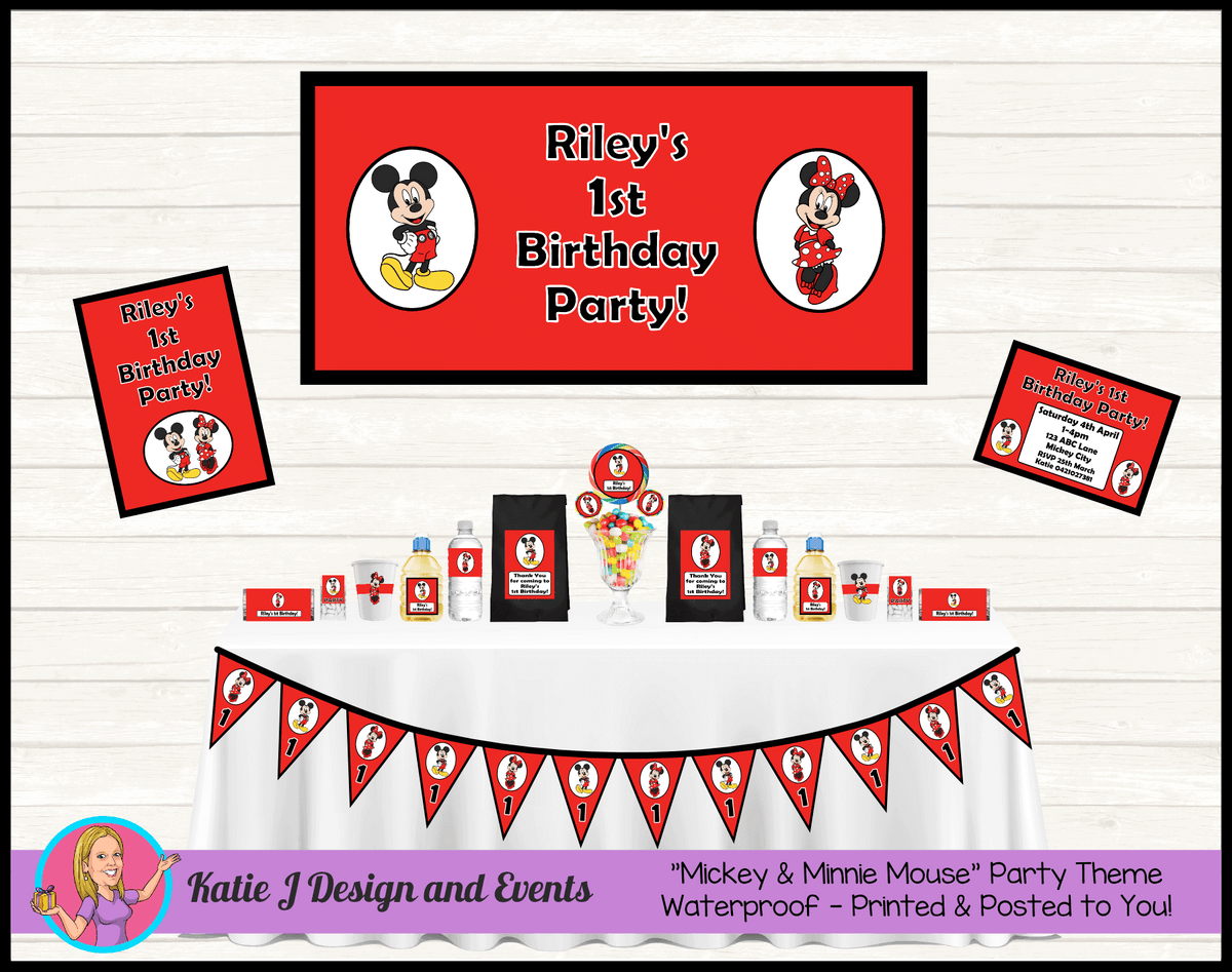Personalised Mickey & Minnie Party Packs Decorations Supplies